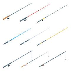 Fishing rod icons set. Isometric set of fishing rod vector icons for web design isolated on white background