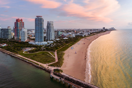 Aerial view of South Pointe at sunrise, Miami, Florida, USA