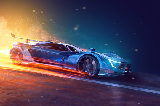 Futuristic sports car (3D Rendering)