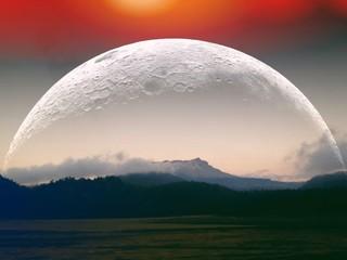 Foto auf Gartenposter Rosa dunkel Moon Against Countryside Landscape Against Mountain Range