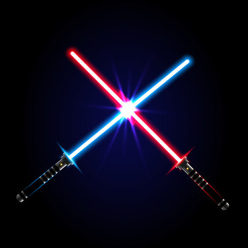 Two crossed light swords on night sky background. Vector illustration.