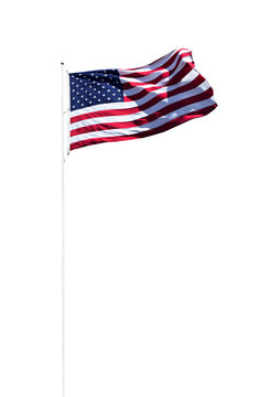 American flag on pole isolated on white background including clipping path