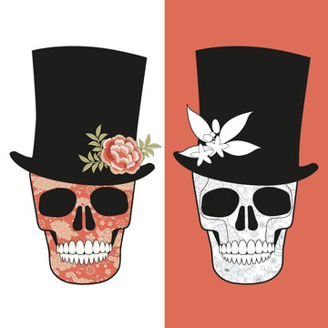 Skulls decorated with floral pattern, wearing top hats adorned with flowers