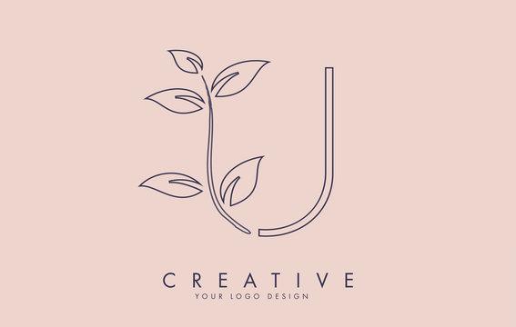 Outline Leaf Letter U Logo Design with Leaves on a Branch and Pink Background. Letter U with nature concept.