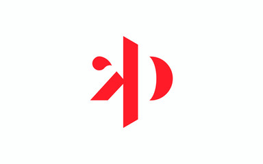 Obraz kp or pk and k or p lowercase Letter Initial Logo Design, Vector Template - fototapety do salonu
