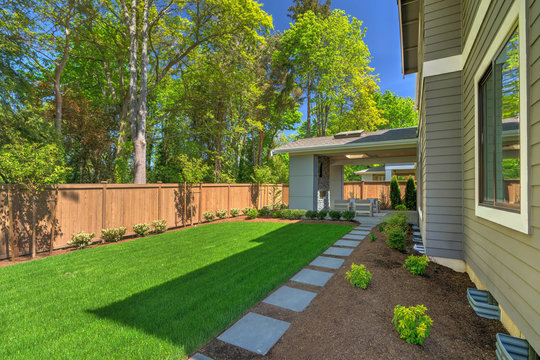 Fantastic new backyard with fresh landscape, fully fenced, with back porch, and large birch trees.