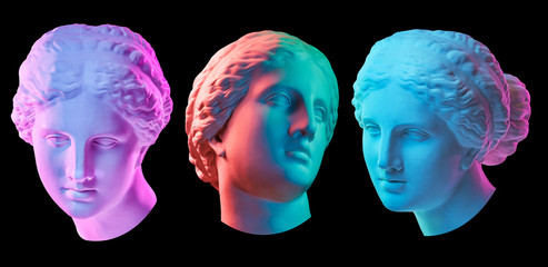 Statue of Venus de Milo. Creative concept colorful neon image with ancient greek sculpture Venus or Aphrodite head. Webpunk, vaporwave and surreal art style. Isolated on a black.