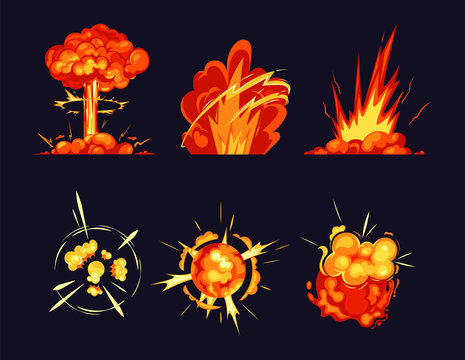 Explosion bursts, fire flame bangs and booms icons