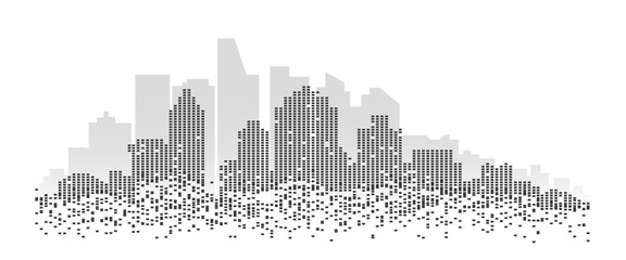 Abstract futuristic city.A city made up of pixel shaped buildings.Digital building background.  Fotomurales