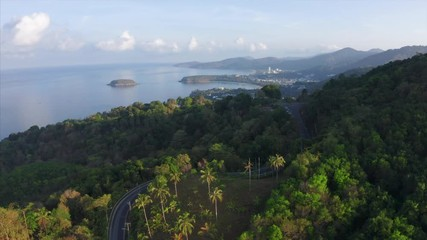 Fototapete - Aerial view of the tropical coastline with beaches and green lush forest. Phuket island, Thailand