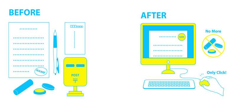 電子印鑑とはんこのデジタル化イラスト