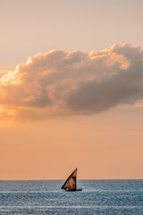 Printed kitchen splashbacks Zanzibar little boat at sunset in the sea