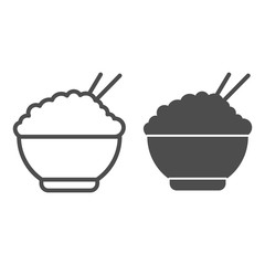 Rice line and solid icon. Chinese food rice illustration isolated on white. Bowl of rice with chopsticks symbol outline style design, designed for web and app. Eps 10.