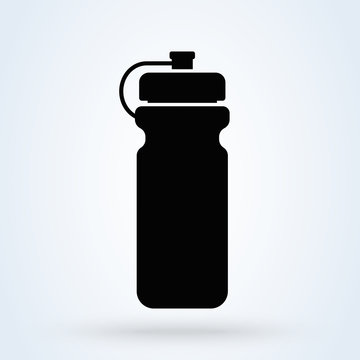 Sports water bottle icon. plastic bottle in simple style. illustration