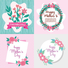 set cards of happy mother day with flowers decoration vector illustration design