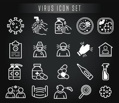 Virus Icon Set Vektor Corona Sars Desinfektion Covid Krank Arzt Pandemie