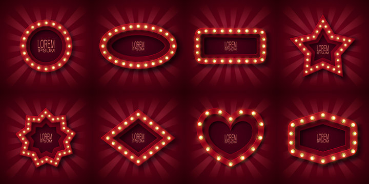 Set of eight advertising signs, emblem for attracting customers. In the form of circle, oval, rectangle, star, rhombus, and heart. With glowing light bulbs along the contour, in red and white beams.