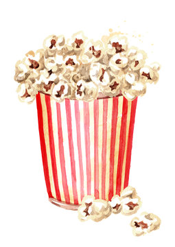 Popcorn in red and white striped cardboard bucket. Hand drawn watercolor illustration isolated on white background