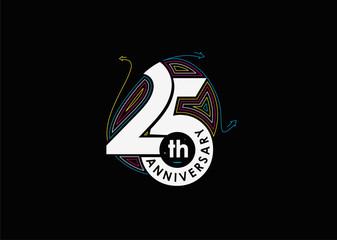 Fototapeta 25th Years Anniversary Celebration Design. 3d Color line art ( RGB ) vector illustration. obraz