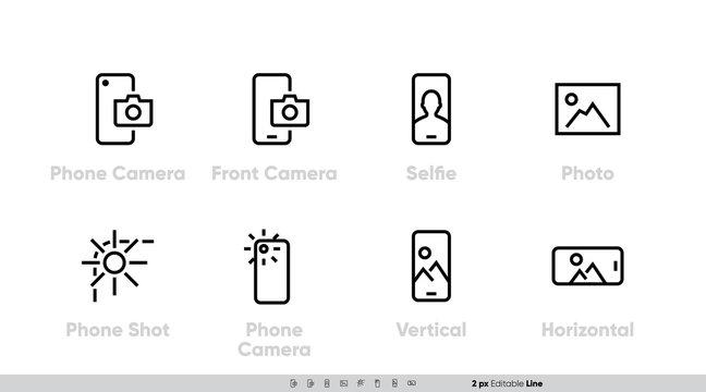 Phone Camera, Front and Back Lens icon set. Selfie, Shot, Vertical, Horizontal Photo. Editable Line vector