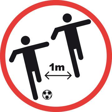social distance football players, soccer ball sign alert