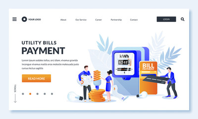 Utility bills online payment concept. Vector illustration of people characters, electricity invoice, electricity meter