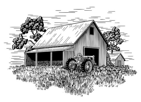 Old Farm Tractor and Barn