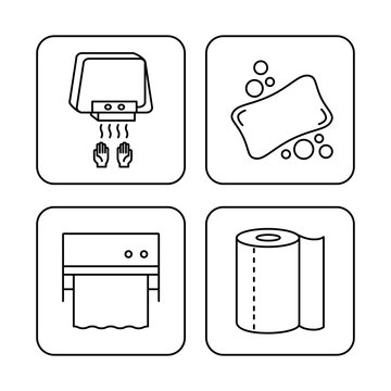 Tools icons to stay clean and healthy: soap, hand dryer, dispenser and paper towel