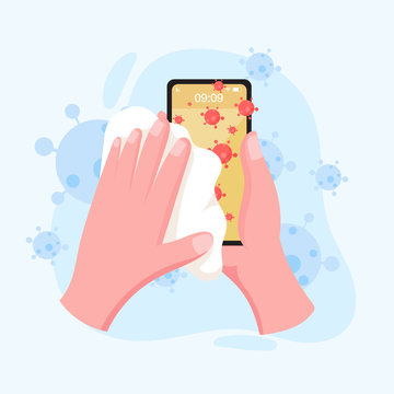 hand holding and cleaning mobile phone screen with a napkin in flat style. stay safe for protect coronavirus. covid-19 outbreaking and pandemic attack concept.