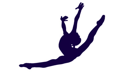 Silhouette of a gymnast who jumps without an object