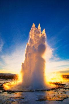 The geyser strokkur in Iceland, Europe