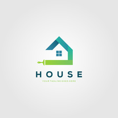 colorful paint house brushes logo creative clever vector illustration