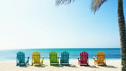Wall Murals Caribbean Multi Colored Deck Chairs At Beach