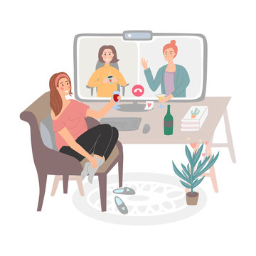 Hand drawn vector girl on a chair at home meeting friends online. Video conference, online party, virtual cocktail party. People drink together during quarantine. Home activities, entertainment.
