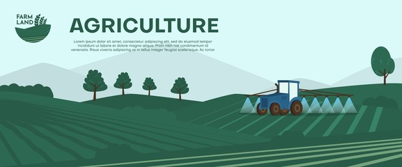 Agriculture farm banner. Tractor cultivating field at spring vector illustration.