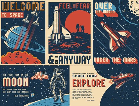 Space exploration vintage colorful posters