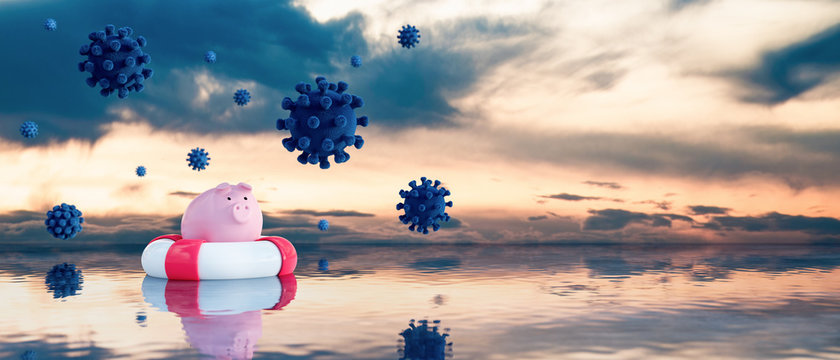 Piggy bank in lifebuoy on open sea is rescued from the Virus epidemic global spreading, Savings Protection and economic crisis Concept 3d render 3d illustration