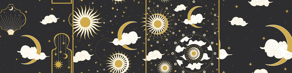 the sun and moon, the beauty of the eastern night. traditional folk spiritual elements. space objects. Vector graphics