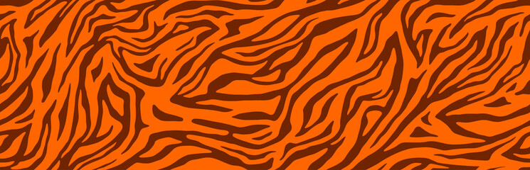 Tiger stripes pattern, animal skin, line background.  Wild life wallpaper. Vector seamles texture. Fotomurales