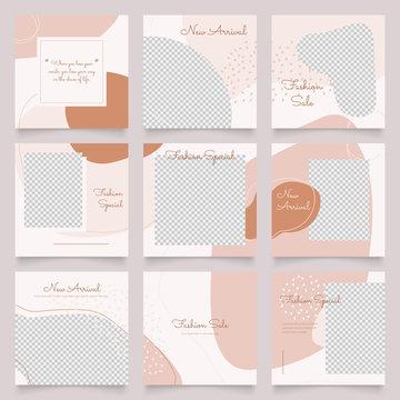 social media post banner for fashion sale promotion. instagram and facebook square frame puzzle poster. brown pink color background vector illustration