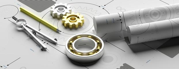 Mechanical engineering, industrial design concept. 3d illustration