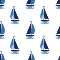 boat cute seamless pattern on white background