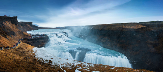 Photo Blinds Waterfalls Stunning Gullfoss Falls waterfall in Iceland on a Golden circle route