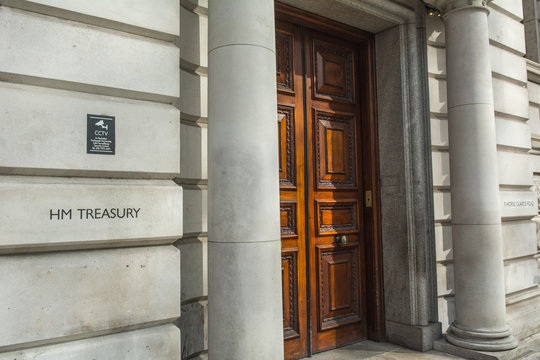 London- HM Treasury building on Horse Guard Road, Whitehall. The UK Government's economic and finance ministry