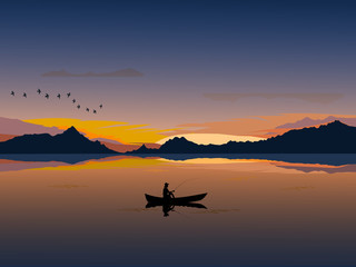 Silhouette of a man on a small boat that is fishing There is an mountain and  sunset background