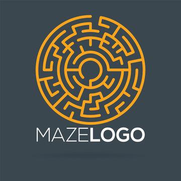 maze labyrinth logo template. vector illustration