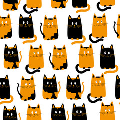 Seamless texture background cats. Cartoon cats faces wallpaper. Funny animals texture