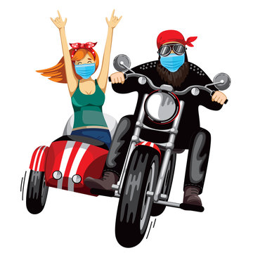 A man and a girl are racing on a red motorcycle with a sidecar. face mask. White background. Vector illustration.