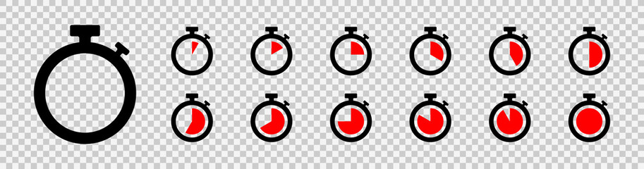 Set of timer icon set. Countdown timers. Stopwatch symbol on a transparent background. Vector