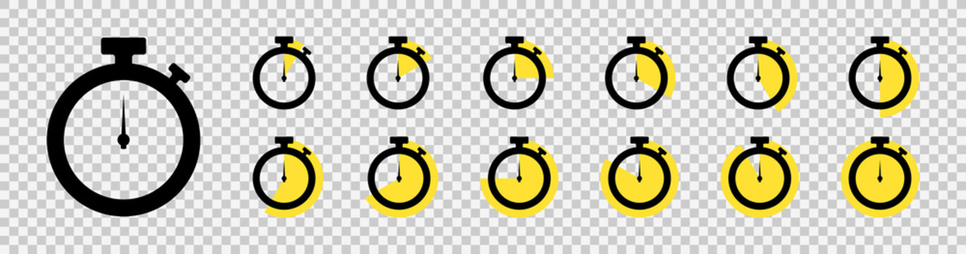 Timer icon set. Countdown timers. Stopwatch symbol on a transparent background. Vector